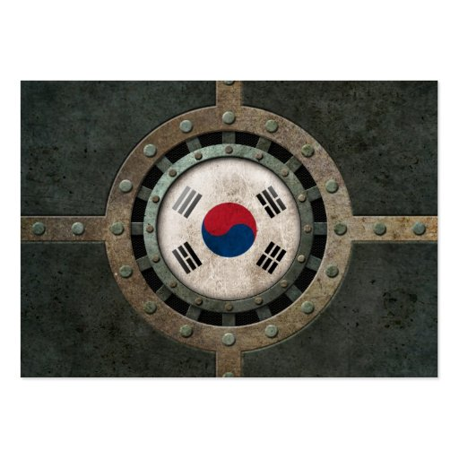 Industrial Steel South Korean Flag Disc Graphic Business Card Templates