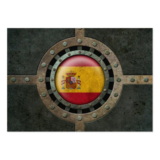Industrial Steel Spanish Flag Disc Graphic Business Card