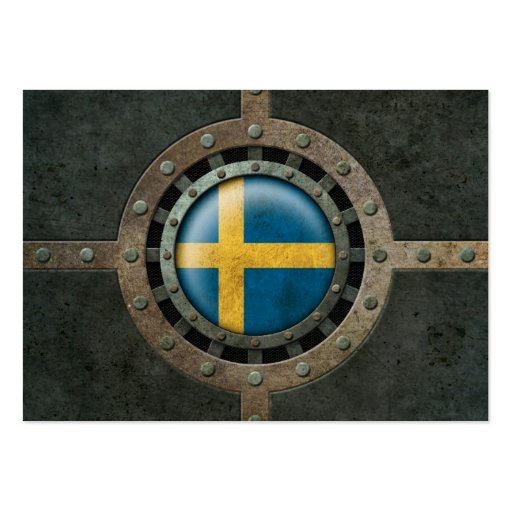 Industrial Steel Swedish Flag Disc Graphic Business Cards