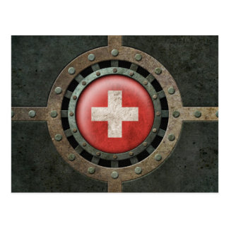Industrial Steel Swiss Flag Disc Graphic Postcard