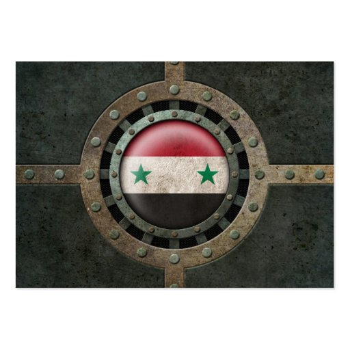 Industrial Steel Syrian Flag Disc Graphic Business Card