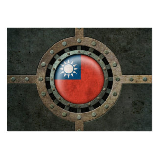 Industrial Steel Taiwanese Flag Disc Graphic Business Card Template