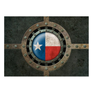 Industrial Steel Texas Flag Disc Graphic Business Card