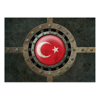 Industrial Steel Turkish Flag Disc Graphic Business Card Templates