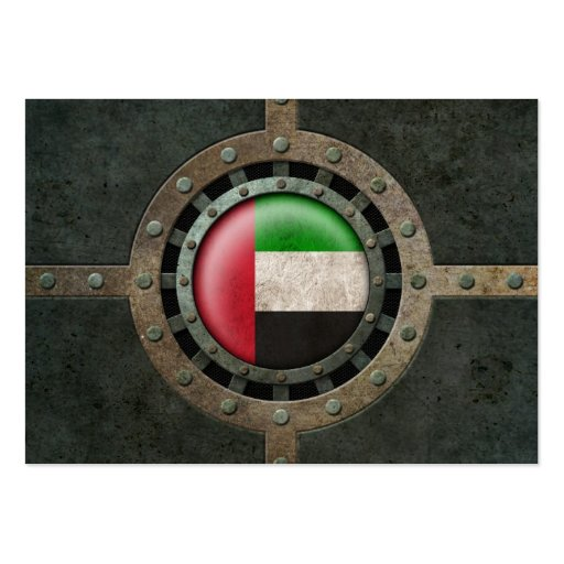 Industrial Steel UAE Flag Disc Graphic Business Cards