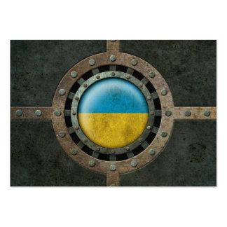 Industrial Steel Ukrainian Flag Disc Graphic Business Card Template