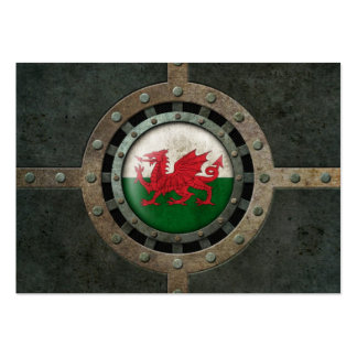 Industrial Steel Welsh Flag Disc Graphic Business Card Template