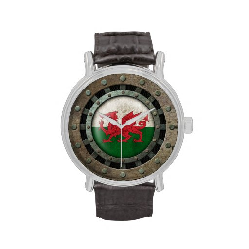 Industrial Steel Welsh Flag Disc Graphic Wrist Watches