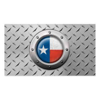 Industrial Texas Flag with Steel Graphic Business Card Templates