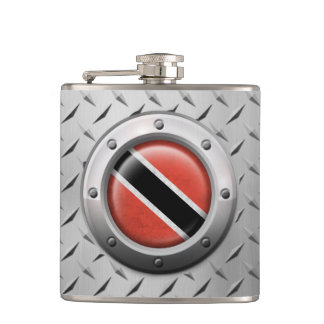 Industrial Trinidadian Flag with Steel Graphic Hip Flask