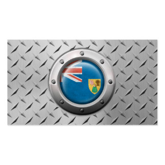 Industrial Turks and Caicos Flag Steel Graphic Business Card Template