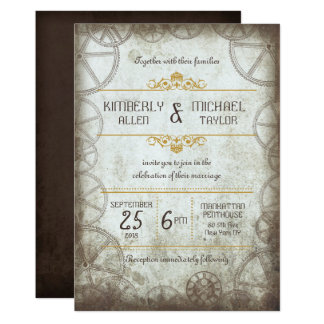 Industrial Vintage Steampunk Wedding Card