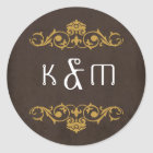Industrial Vintage Steampunk Wedding Classic Round Sticker
