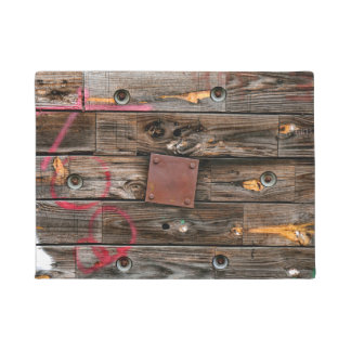 Industrial Wood Rustic Wooden Wire Spool Doormat