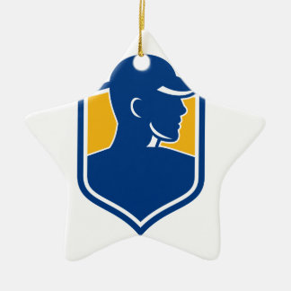 Industrial Worker Crest Icon Ceramic Ornament
