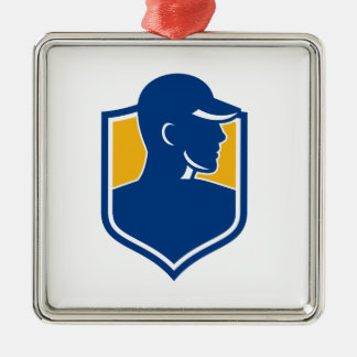 Industrial Worker Crest Icon Metal Ornament