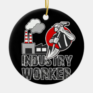 Industry worker ceramic ornament