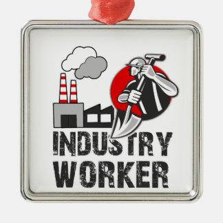 Industry worker metal ornament