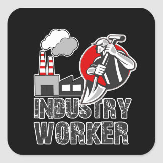 Industry worker square sticker
