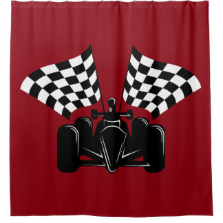 Indy style of race car with checked flags