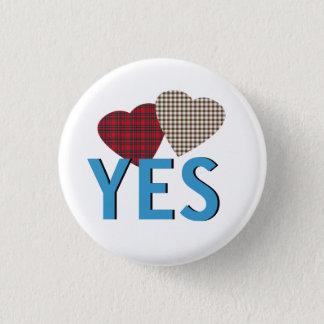 Indy Tartan Hearts Scottish Independence Pinback 1 Inch Round Button
