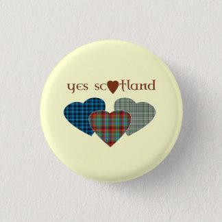 #indyref Tartan Love Heart Yes Scotland Pinback 1 Inch Round Button