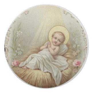 Infant Baby Jesus in Manger flowers Eraser
