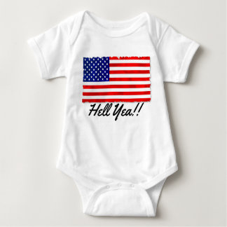 """Infant Creeper with patriotic flag and """"Hell Yea!!"""