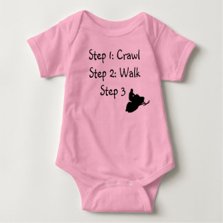 "Infant Girl (pink Crawl, Walk, Ride"" Baby Bodysuit"