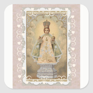 Infant Jesus of Prague with Decorative Border Square Sticker