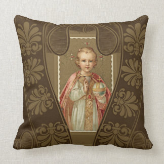 Infant of Prague Jesus with World Throw Pillow