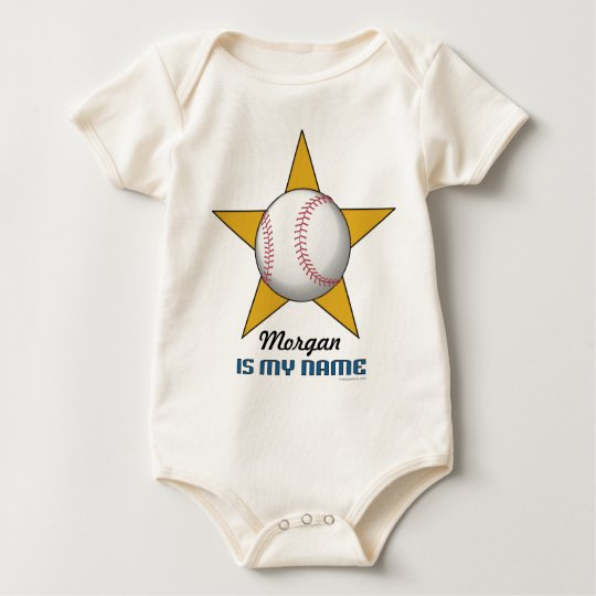 Infant's Personalized Baseball Star Baby Bodysuit