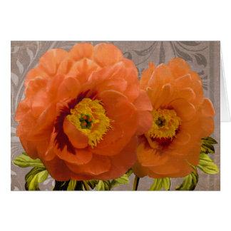 Infatuation I Greeting Card peony tangerine orange