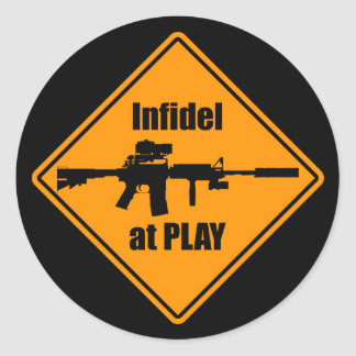 Infidel at Play Round Sticker
