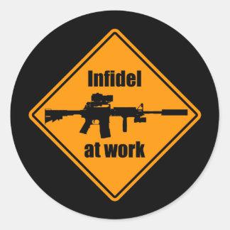 Infidel at Work Classic Round Sticker