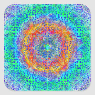 infinite sunrise psychedelic design square sticker