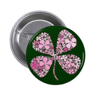 Infinitely Lucky Pink Clover 2 Inch Round Button