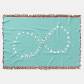 Infinity Hakuna Matata - Teal Blue and White Throw Blanket