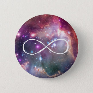 Infinity loop and galaxy space hipster background 2 inch round button