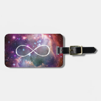 Infinity loop and galaxy space hipster background luggage tag