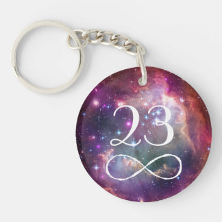 Infinity loop and galaxy space hipster monogram keychain