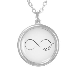 Infinity swallow symbol silver plated necklace