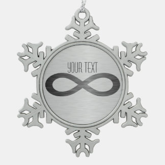 Infinity Symbol On Faux Metal Texture by STaylor Snowflake Pewter Christmas Ornament