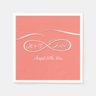 Infinity Symbol Sign Infinite Love Wedding Coral Disposable Napkins