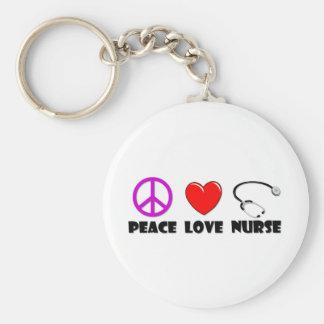 Infirmière d'amour de paix porte-clé rond