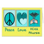 Infirmière de l'amour ICU de paix Carte De Vœux
