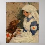 Infirmière vintage de Croix-Rouge avec le golden r Affiche