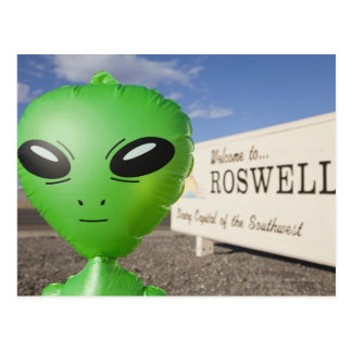 Inflatable alien with Welcome to Roswell sign in Postcard