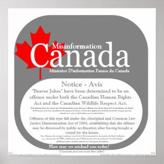 Information fausse Canada - le castor plaisante av Poster