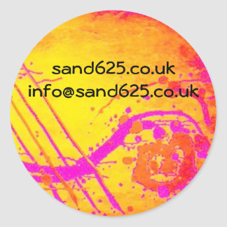 information sticker- hot pink abstract design classic round sticker